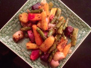 Roasted potatoes and other root vegetables