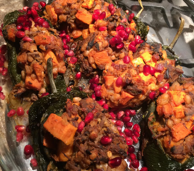 Braised Lamb and Sweet Potato Chili Rellenos – serves 6