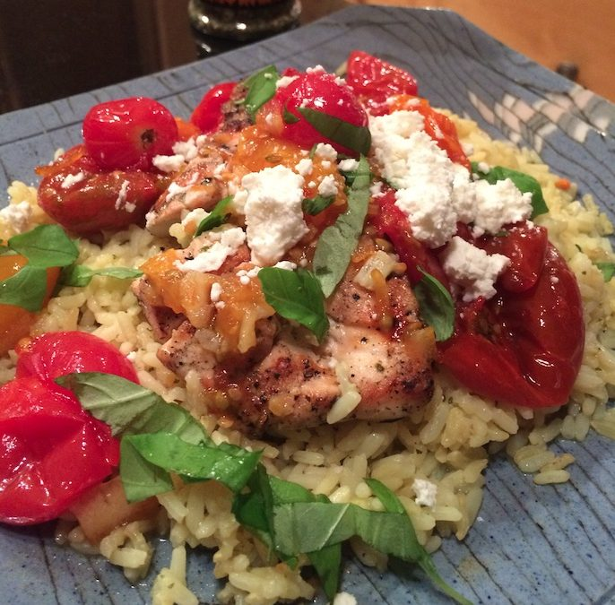 Grilled Chicken Breasts w/Spiced Orange Marmelade and Goat Cheese