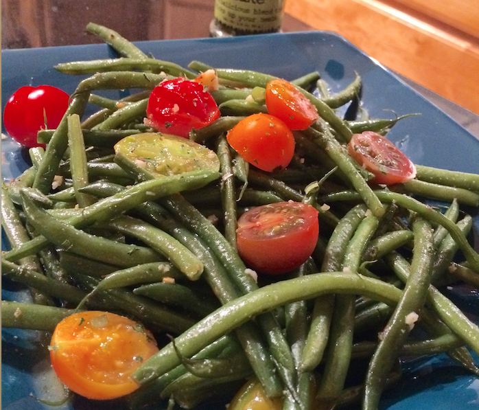 Green Beans with Heirloom Tomatoes Garlic Herb Butter