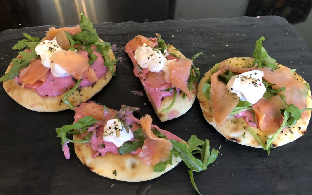 Smoked Salmon and Beet Crema Flatbreads with Lemon-Pepper Arugula – serves 6